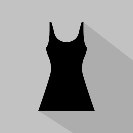 fashionably: Womens monochrome dress icon on grey background. Vector illustration
