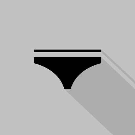 fashionably: Womens monochrome panties icon on grey background. Vector illustration