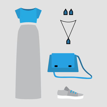 fashionably: Set of trendy womens clothes with grey skirt, blue top and accessories. Vector illustration