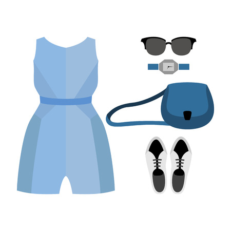 coveralls: Set of trendy womens clothes with coveralls and accessories. Vector illustration