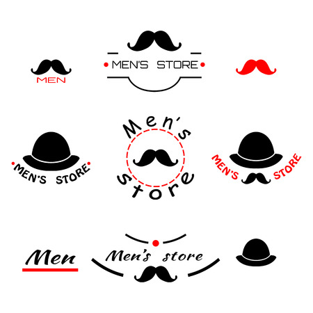 men's: Set of vintage mens store logo, emblem and brend with text. Vector illustration