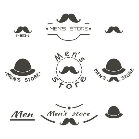 men's: Set of vintage mens store logo, brend with text. Vector illustration
