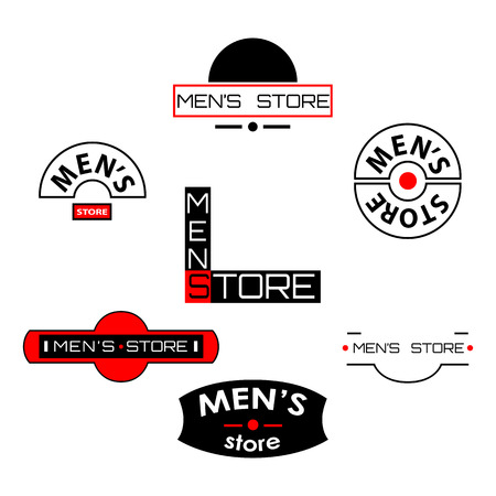 men's: Set of  mens store logos and emblems with text. Vector illustration Illustration