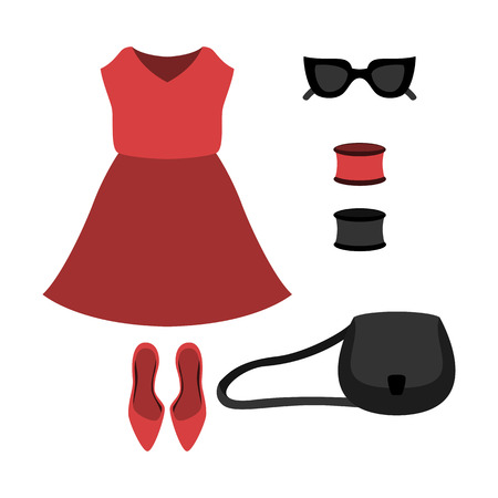 red dress: Set of trendy womens clothes with red dress and accessories. Vector illustration
