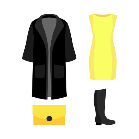yellow dress: Set of trendy womens clothes with black coat, yellow dress and accessories. Vector illustration Illustration