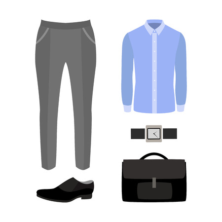 men's: Set of trendy mens clothes with pants, shirt and accessories. Vector illustration Illustration