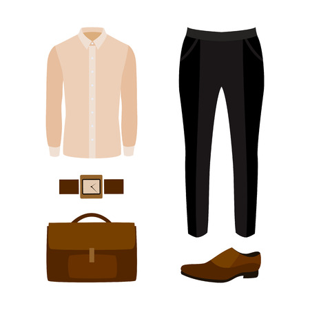 men's: Set of trendy mens clothes with black pants, shirt and accessories. Vector illustration