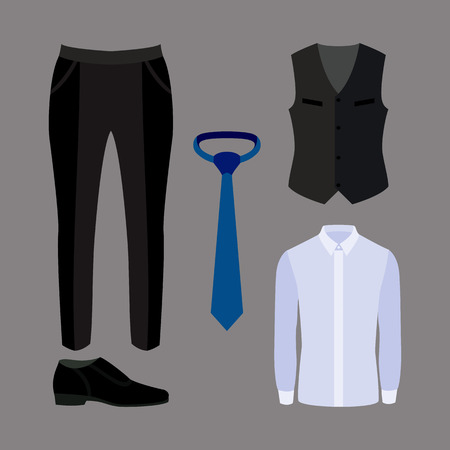 men s boot: Set of trendy mens clothes with pants,shirt, vest and accessories. Vector illustration