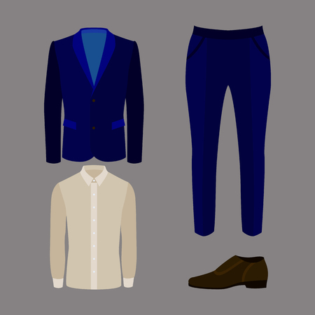 men's: Set of trendy mens clothes with pants, jacket, shirt and shoes. Vector illustration Illustration