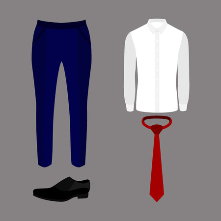 s tie: Set of trendy mens clothes with pants, shirt, tie and shoes. Vector illustration