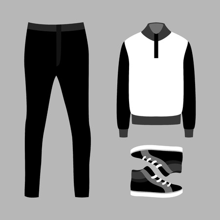 mens: Set of trendy mens clothes with pants, pullover and sneakers. Vector illustration Illustration