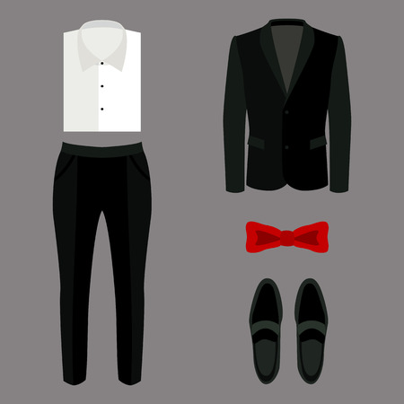 s tie: Set of trendy mens clothes with pants, jacket, shirt and accessories. Vector illustration