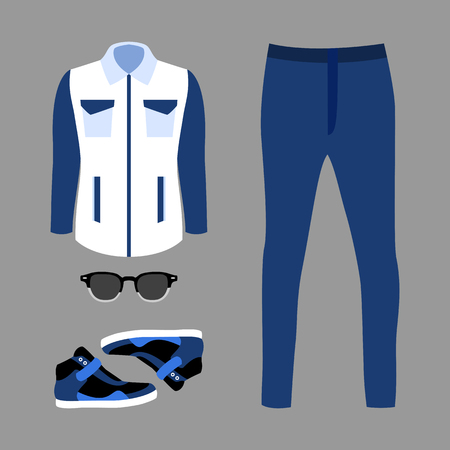 mens: Set of trendy mens clothes with jeans, windbreaker and accessories. Vector illustration