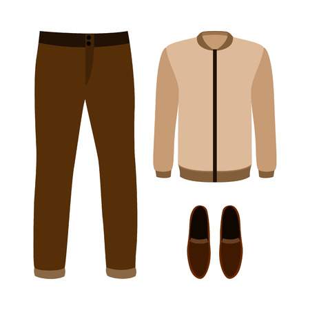men's: Set of trendy mens clothes with pants, jacket and moccasins. Vector illustration