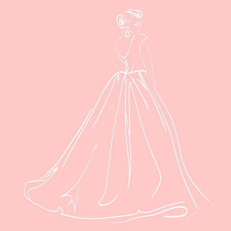 fashionably: Sketch of womans figure on pink background. Vector illustration