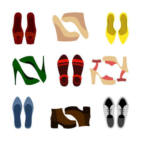 wedge: Set of colorful trendy womens shoes. Vector illustration Illustration