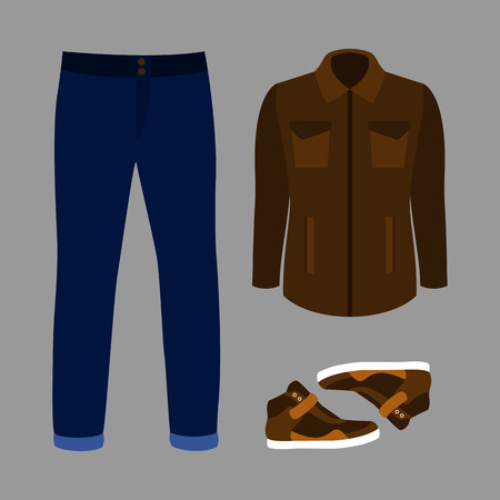 men's: Set of trendy mens clothes with jeans, windbreaker and sneakers. Vector illustration Illustration