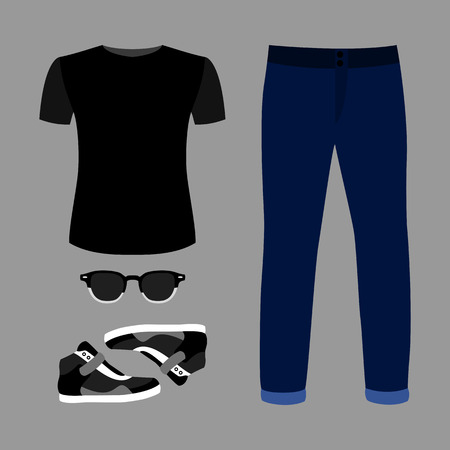 blue grey coat: Set of trendy mens clothes with blue jeans, t-shirt, glasses and sneakers. Vector illustration
