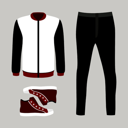 men's: Set of trendy mens clothes with pants, windbreaker and sneakers. Vector illustration