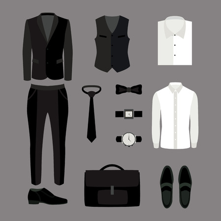 Set of trendy mens clothes and accessories. Mens wardrobe. Vector illustration