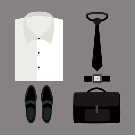 s tie: Set of trendy mens clothes with shirt and accessories. Mens wardrobe. Vector illustration