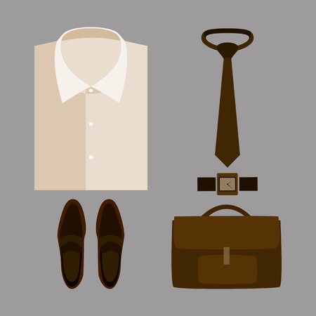 mens: Set of trendy mens clothes with beige shirt and accessories. Mens wardrobe. Vector illustration