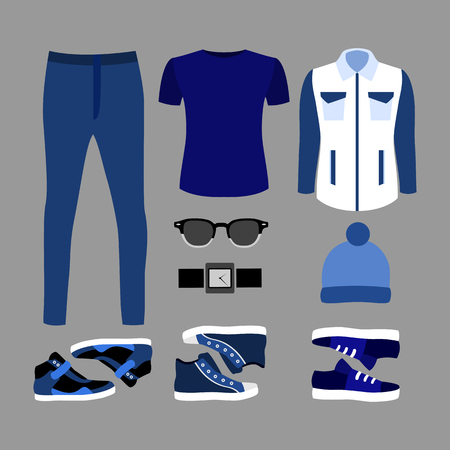 men's: Set of trendy mens blue clothes and accessories. Mens wardrobe. Vector illustration Illustration