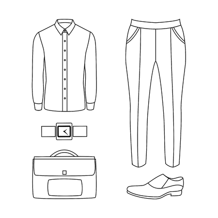 men's: Set of outline trendy mens clothes and accessories. Mens wardrobe. Vector illustration Illustration