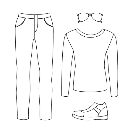 men's: Set of outline trendy mens clothes with pants, pullover and accessories. Vector illustration