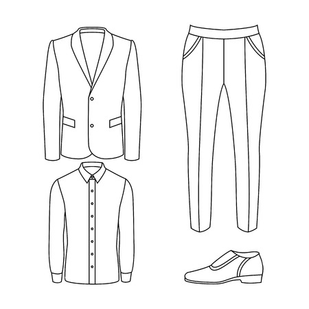 men's: Set of outline trendy mens clothes with pants, jacket, shirt and accessories. Vector illustration