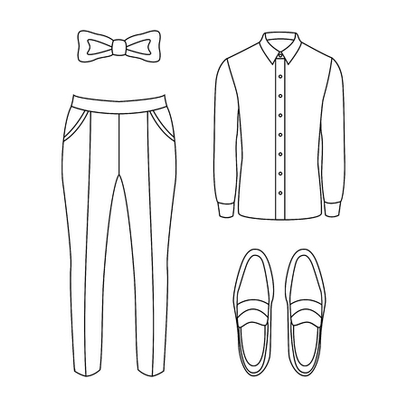 Set of outline trendy mens clothes with pants, shirt and accessories. Vector illustration