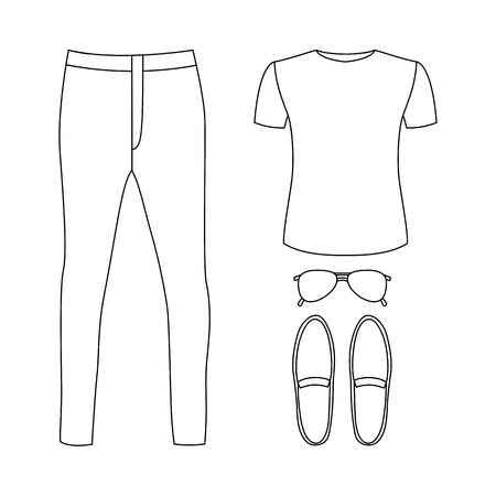 white suit: Set of outline trendy mens clothes with pants, t-shirt and accessories. Vector illustration Illustration