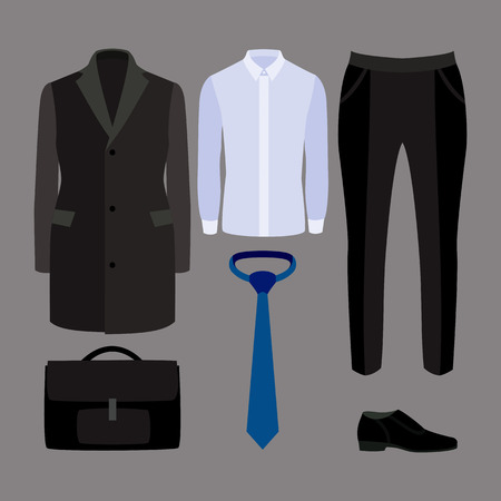 mens: Set of trendy mens clothes and accessories. Mens wardrobe. Vector illustration