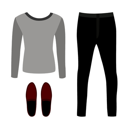 moccasins: Set of outline trendy mens clothes with pants, pullover and moccasins. Vector illustration Illustration