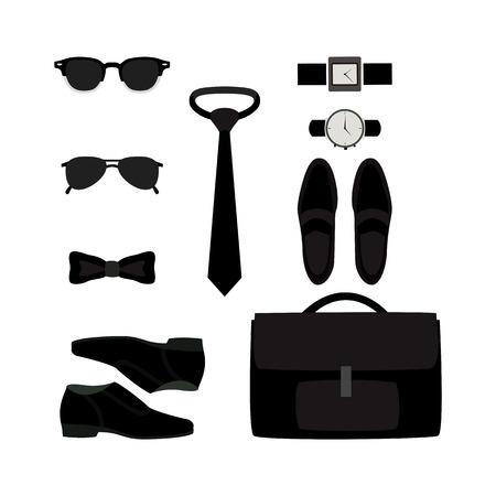 men s boot: Set of trendy monochrome mens accessories. Mens wardrobe. Vector illustration