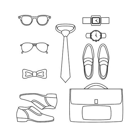 men s boot: Set of outline trendy mens accessories. Mens wardrobe. Vector illustration