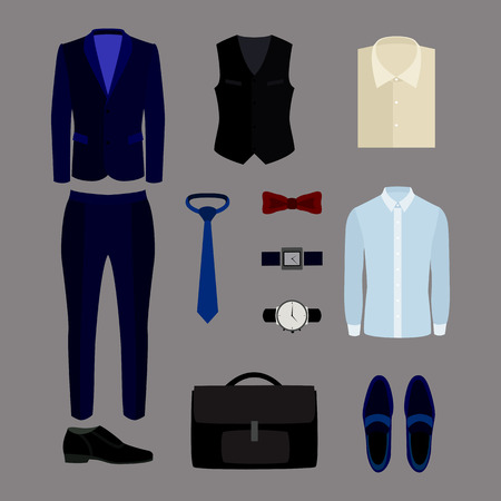s tie: Set of trendy mens clothes and accessories. Mens wardrobe. Vector illustration
