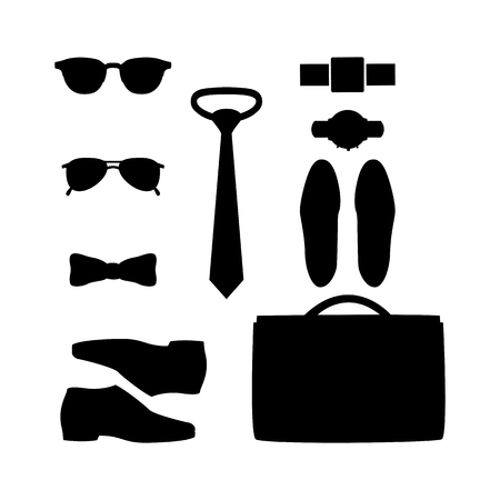 s tie: Set of black silhouette trendy mens accessories. Mens wardrobe. Vector illustration