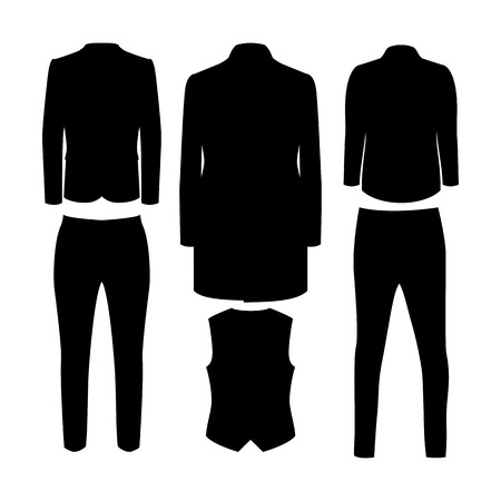men's: Set of black silhouette trendy mens clothes. Illustration