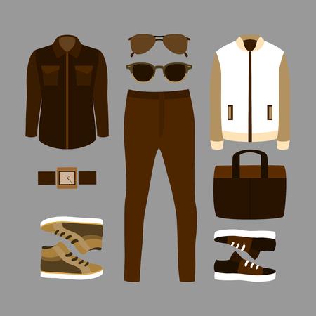 wardrobe closet: Set of brown trendy mens clothes and accessories. Mens wardrobe. Illustration