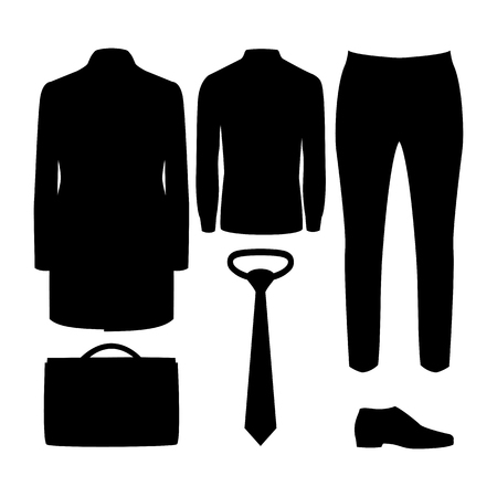 men's: Set of black silhouette trendy mens clothes with coat, shirt, trousers and accessories. Mens wardrobe. Vector illustration