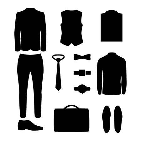 men's: Set of black silhouette trendy mens clothes and accessories. Mens wardrobe. Vector illustration