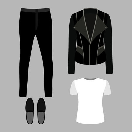 moccasins: Set of trendy mens clothes with rocker jacket, t-shirt, pants and moccasins. Mens wardrobe. Vector illustration