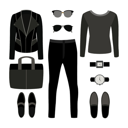 rocker: Set of monochrome trendy mens clothes with rocker jacket, pullover, jeans and accessories. Mens wardrobe. Vector illustration