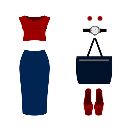 t shirt blouse: Set of  trendy womens clothes with blouse, skirt and accessories.Womens wardrobe. Vector illustration