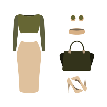 Set of  trendy womens clothes with top, skirt and accessories.Womens wardrobe. Vector illustration Иллюстрация