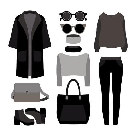 trousers: Set of monochrome trendy womens clothes with coat, trousers, pullover and accessories.Womens wardrobe. Vector illustration