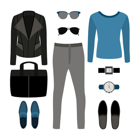 men's: Set of trendy mens clothes with rocker jacket, pullover, jeans and accessories. Mens wardrobe. Vector illustration