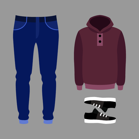 hoody: Set of trendy mens clothes with pants, hoody and sneakers. Mens wardrobe. Vector illustration Illustration