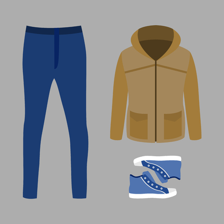 men's: Set of trendy mens clothes with parka, jeans and sneakers. Mens wardrobe. Vector illustration
